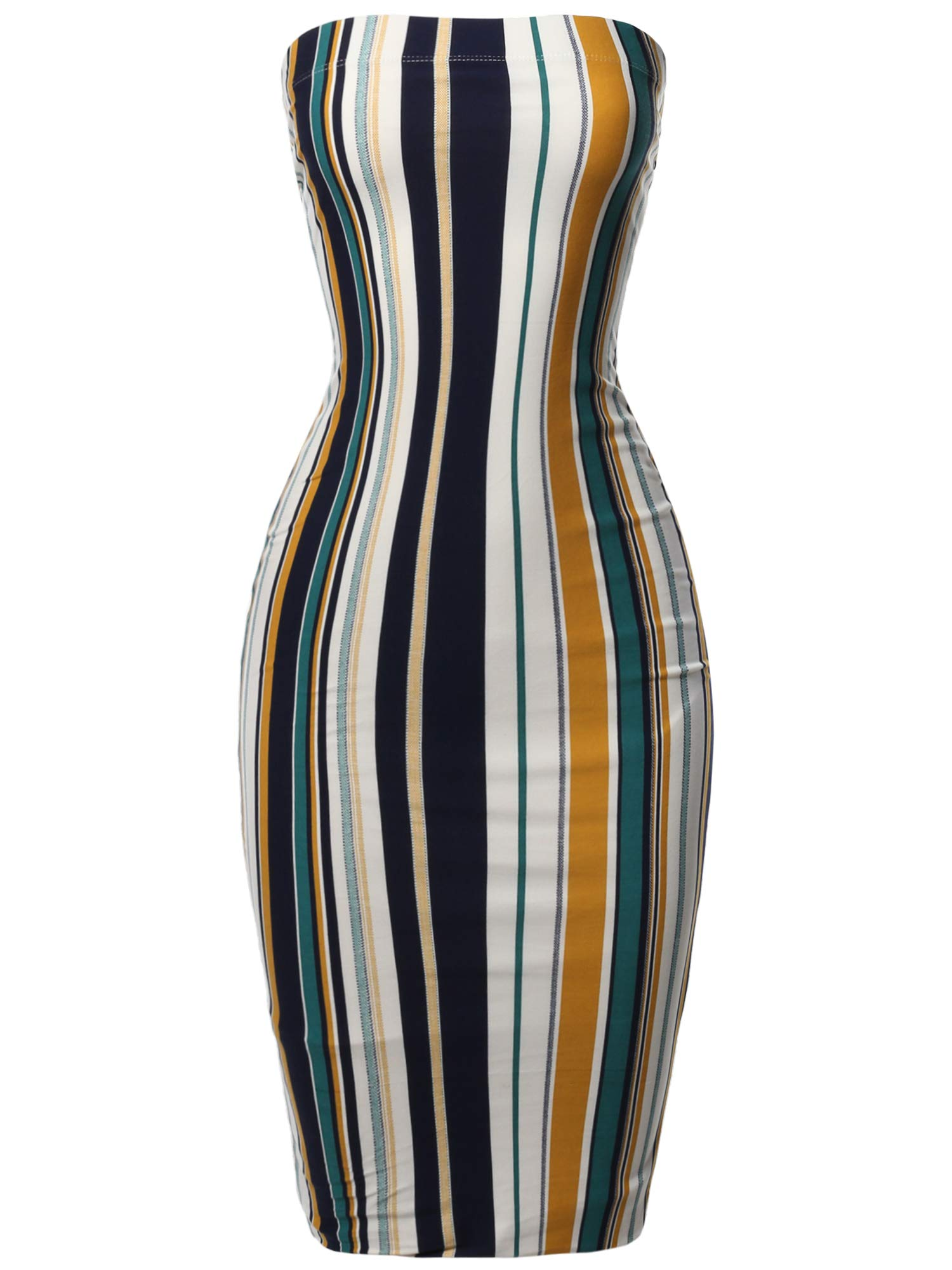 Made by Emma Super Sexy Comfortable Tube Top Bodycon Vertical Strips Midi Dress 3XL