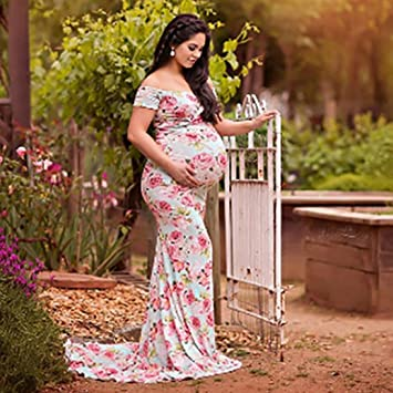 ad6c608117b15 Photography Maternity Dress Daoroka Women Sexy Off Shoulder Floral Slash  Neck Casual...