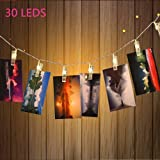 30 LED Photo Clips String Lights Indoor / Outdoor, Christmas Lights, USB Powered, 12 Ft, 30 LED Clips Lights, Warm white - for Hanging Photos Paintings Pictures Card and Memos
