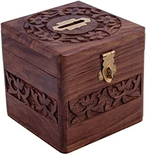 Craftsman Beautiful Indian Handmade Wooden Money Bank In Square Shape 4x4 Inch By Vian