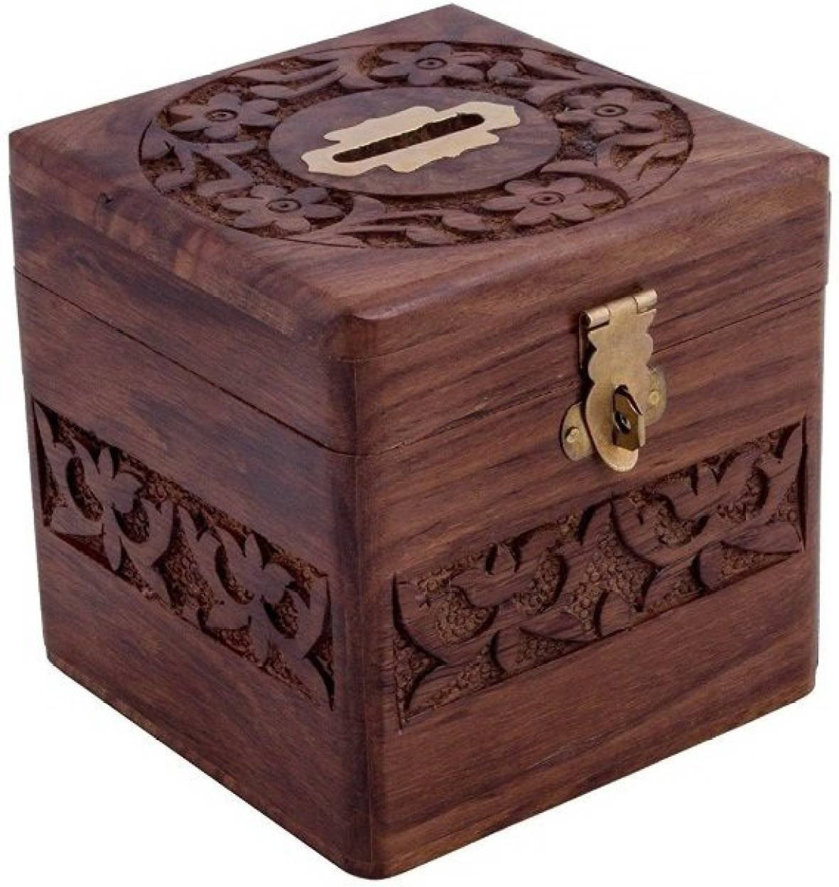 Crafts'man Beautiful Indian Handmade Wooden Money Bank in Square Shape 4x4 inch by Vian Crafts'man VIAN0198