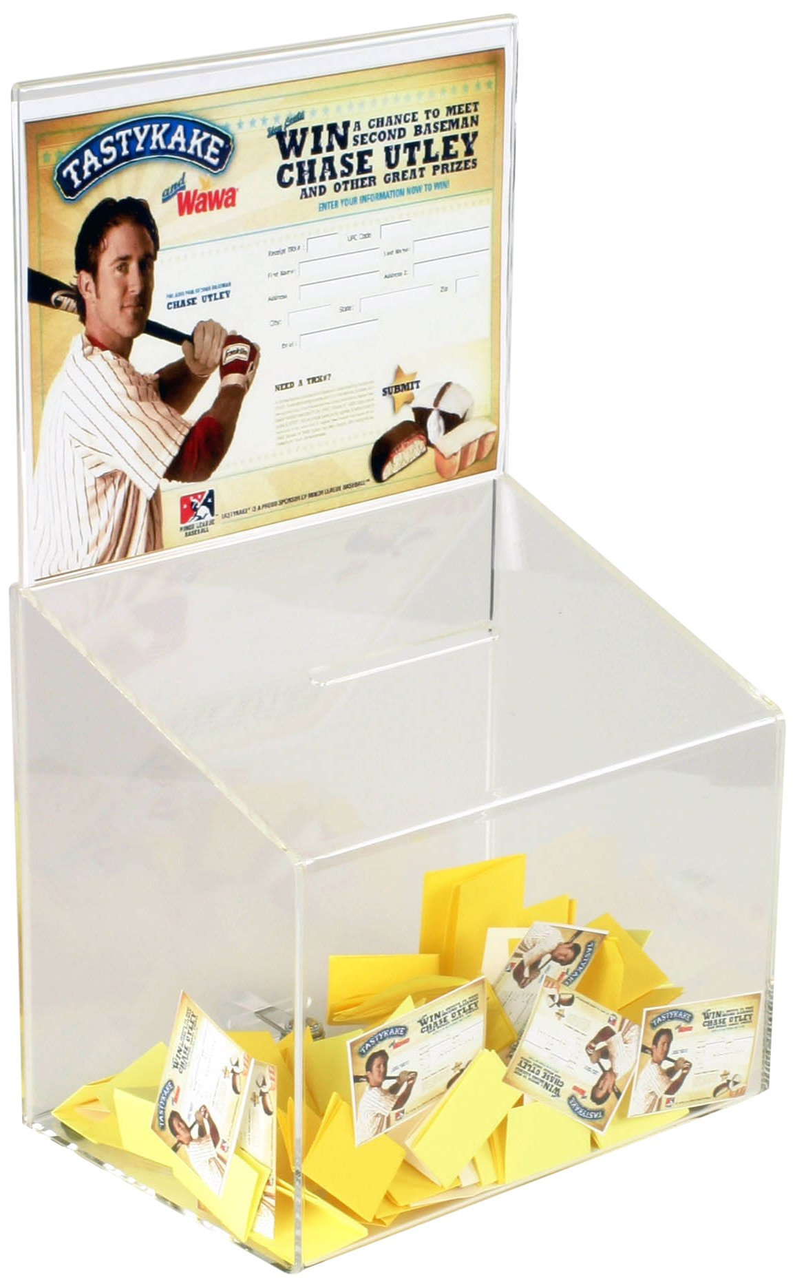 Displays2go Sweepstakes Box with Sign Frame for Tabletop Use, Locking - Clear Acrylic (CDBLSH)