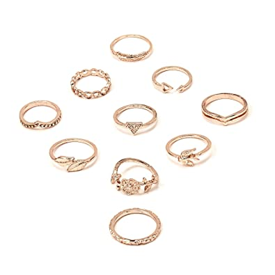 RINHOO FRIENDSHIP 10PCS Bohemian Finger Knuckle Rings Ring Sets Vintage Retro Crystal Ring Sets for Women Girls (Style 4)