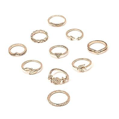 RINHOO FRIENDSHIP 10PCS Bohemian Finger Knuckle Rings Ring Sets Vintage Retro Crystal Ring Sets for Women Girls (Style 4)