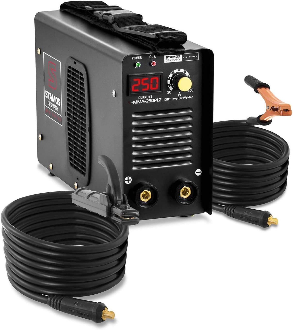 Stamos Germany Soldador Inverter Soldadora Equipo de Soldadura Electrodo MMA (250 A, Cables de soldadura de 8 m, Hot Start, Inverter IGBT, Electrodos de hasta Ø5 mm) PRO
