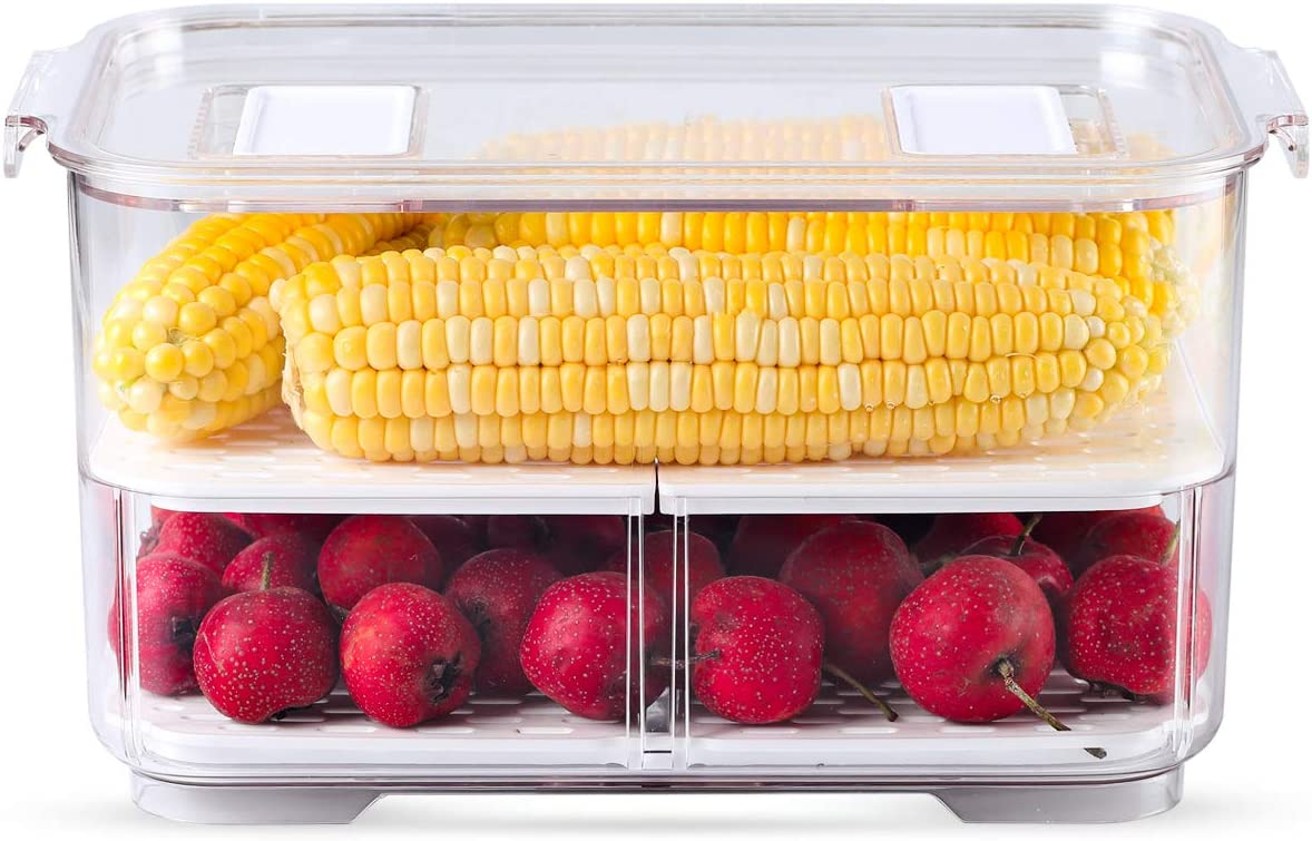 Produce Keeper with Strainer, Stackable function, Freely Adjusted Horizontally, Store Fresh Fruits and Vegetables,1 Piece(10.86
