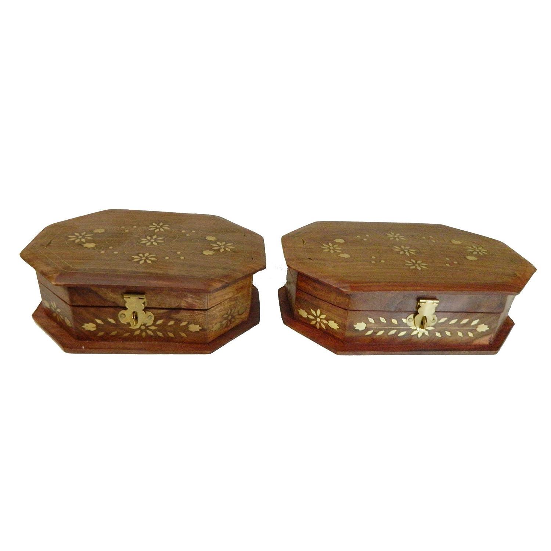 Holzbox Set Blume 2-teilig  achteckig Schatzkiste Schmuckkasten Aufbewahrung