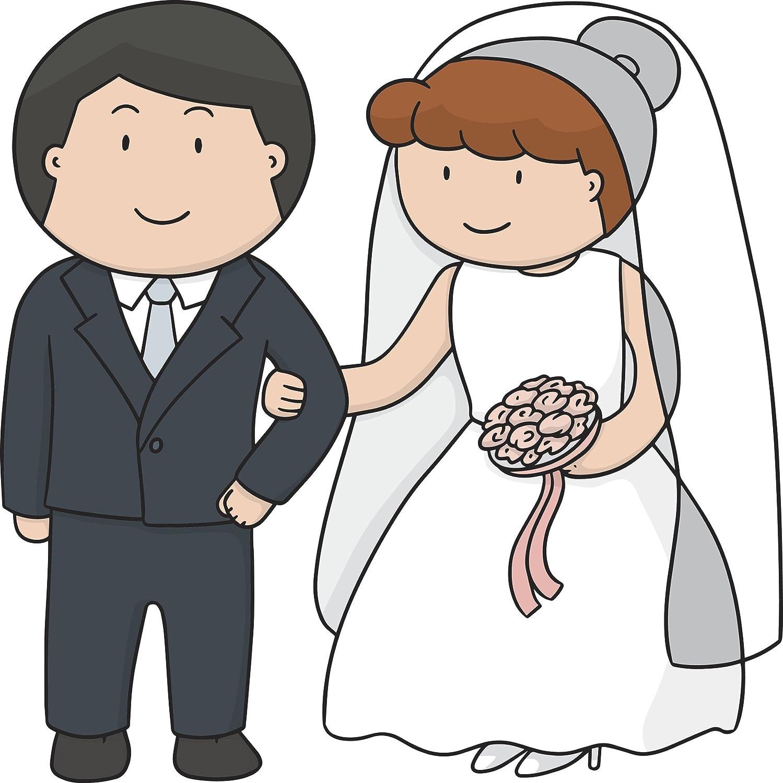 Amazon Com Simple Cute Bride And Groom Wedding Couple Cartoon Art Vinyl Decal Sticker 2 Wide Automotive