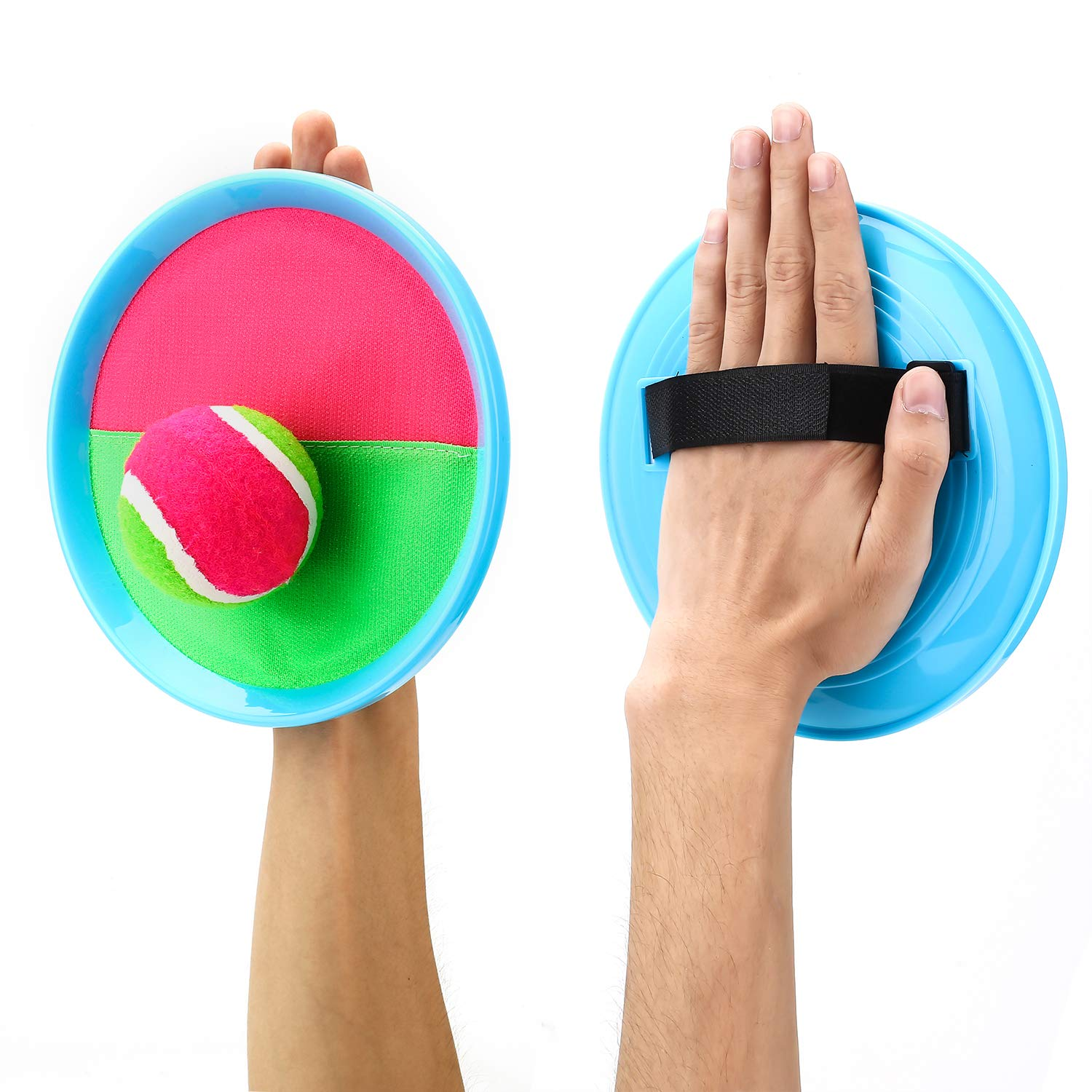Ayeboovi Paddle Toss and Catch Ball Set for Kids- Self Stick Paddle Game with 4 Paddles, 4 Balls and 1 Storage Bag for Children by Ayeboovi (Image #3)