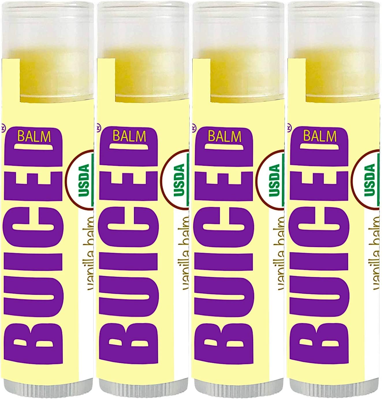 BUICED Vitamins USDA Organic Lip Balm | USDA Certified Organic | Beeswax | Coconut Oil | Vitamin E | Best Lip Chapstick for Dry Lips | Adults and Kids Lip Repair | Made in USA | Vanilla Flavor