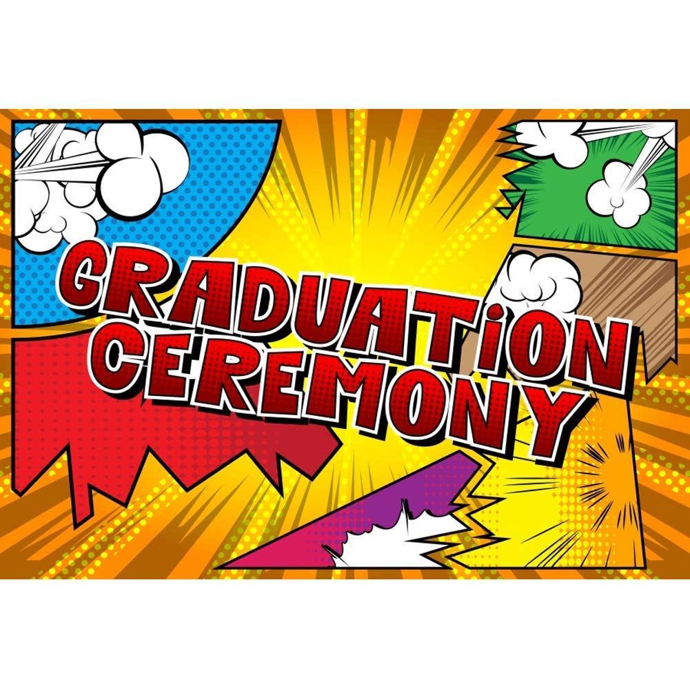 Graduation Ceremony Background 10x7ft Colorful Comic Book Style Photography Backdrop Cartoon Pop Art Grad Students School Classroom Celebrate Prom Carnival Party Decor Portrait Shoot Banner
