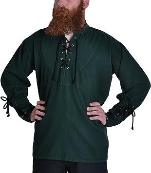 Camisa medieval - verde oscuro - Disfraz Pirata hombre - S: Amazon.es: Deportes y aire libre
