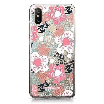 CASEiLIKE® Funda Mi A2, Carcasa Xiaomi Mi A2, Flor Japonesa 2255, TPU Gel Silicone Protectora Cover