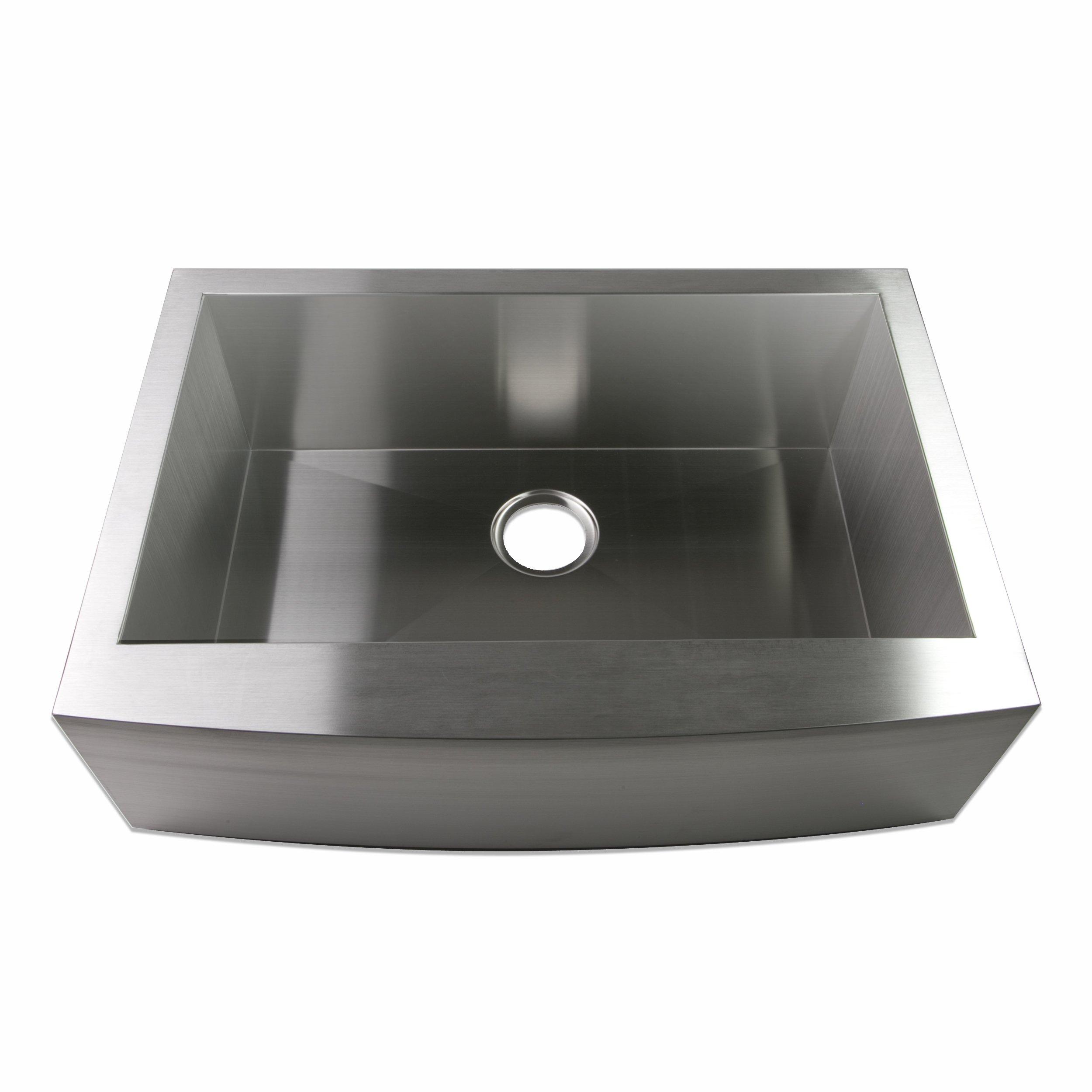 Luxier A001-Z 30 Inch x 21 Inch Farmhouse Apron Single Bowl 16 Gauge Stainless Steel Luxury Handmade Kitchen Sink cUPC Zero Radius