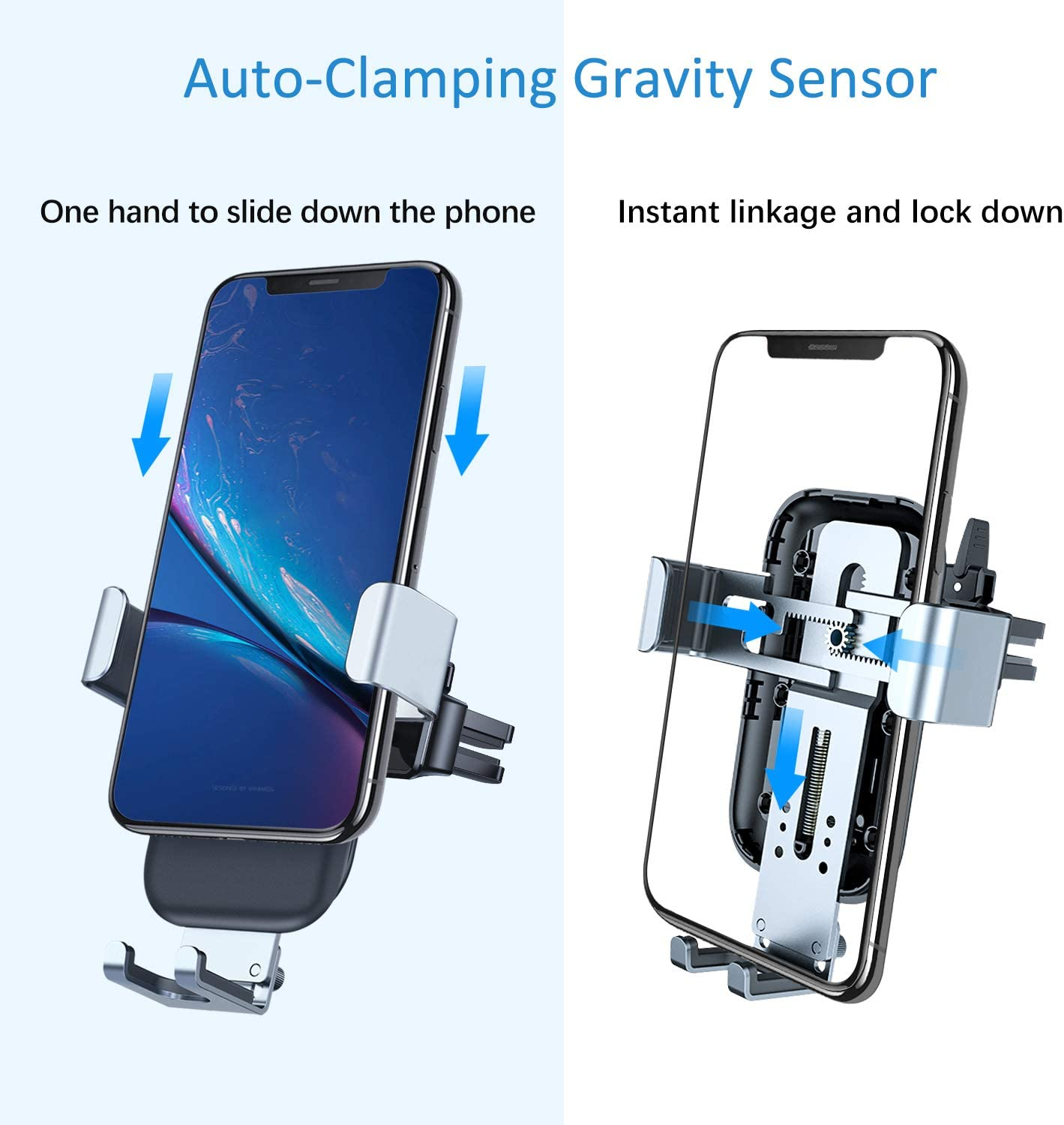 Samsung S10//S10+//S9//S9+//S8//S8+//S7 Air Vent Windshield Dashboard Phone Holder Compatible with iPhone Xs MAX//XS//XR//X//8//8+ VANMASS Wireless Car Charger Pixel//LG 10W Fast Charging Gravity Car Mount