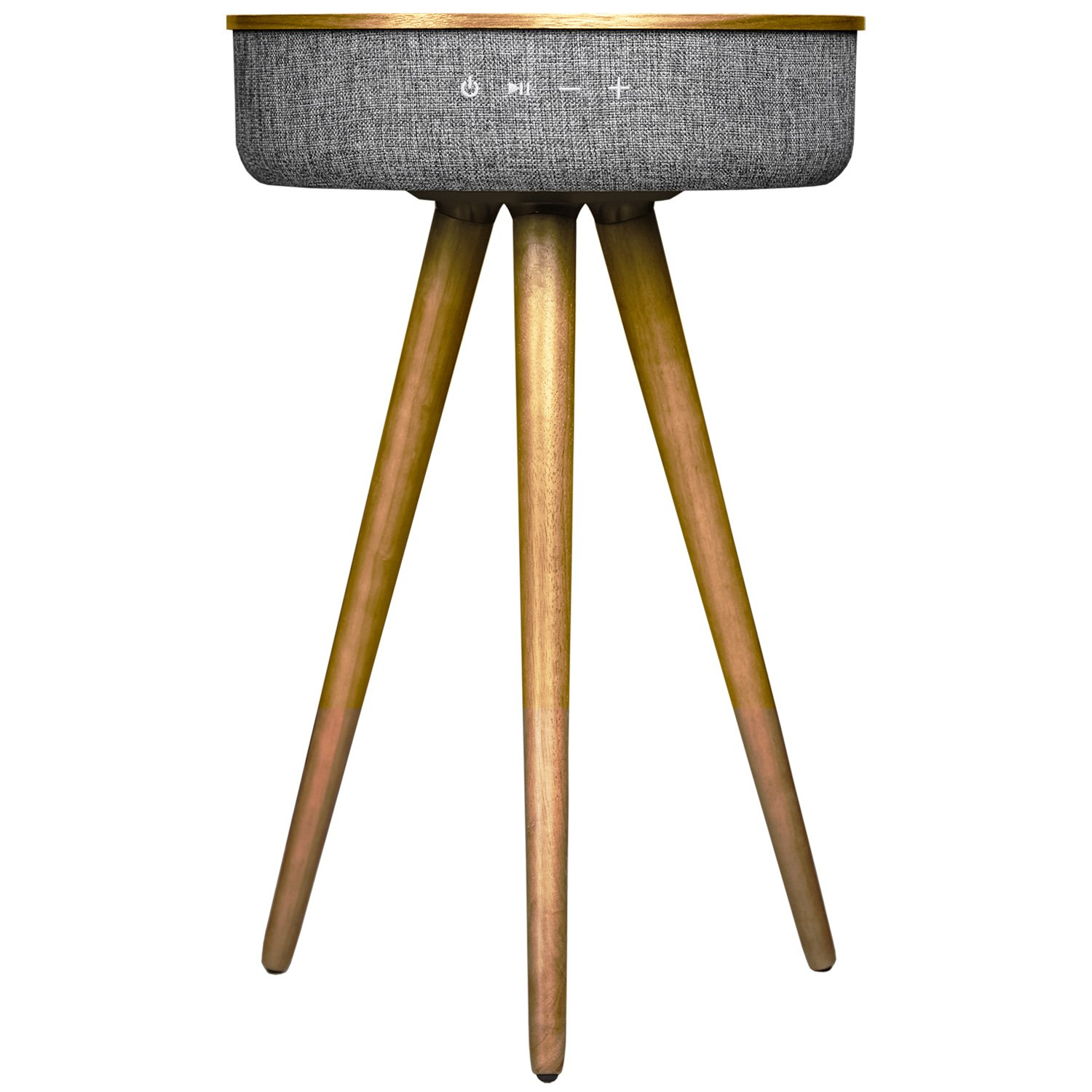 Sierra modern home studio smart table with built in 360 bluetooth speaker wireless qi charger ash wood night stand modern functional coffee table