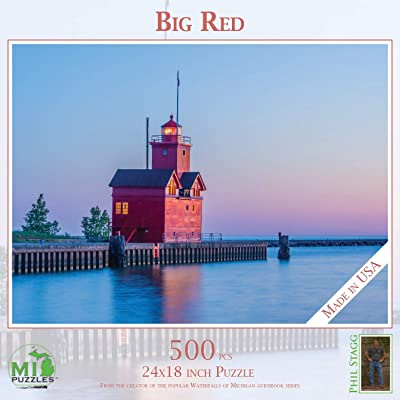 "Big Red (Holland Lighthouse) - 500 Piece MI Puzzles Jigsaw Puzzle - 24"" x 18"" Interlocking - Made in USA: Toys & Games"