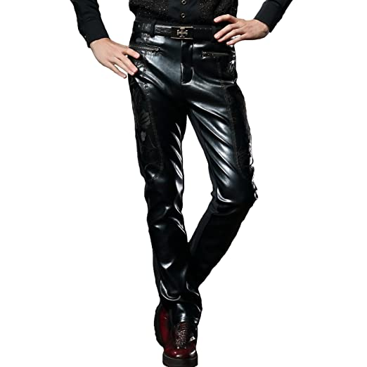 Fanzhuan Fashion Faux Leather Pants Black Casual Slim Fit At Amazon