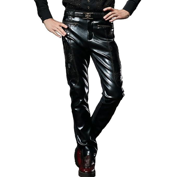 FANZHUAN Pantalón De Cuero Piel Sintética Slim Fit Fashion: Amazon.es: Ropa y accesorios