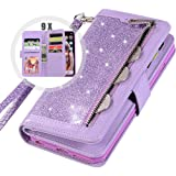 iPhone XR Bling Wallet Case with Strap for Women,Auker 9 Card Holder Folio Flip Glitter Leather Zipper Wallet Case w/Fold Sta