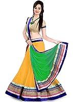 Arawins Women's Net Lehenga Choli (Yellow,Free Size, Semi-Stitched)