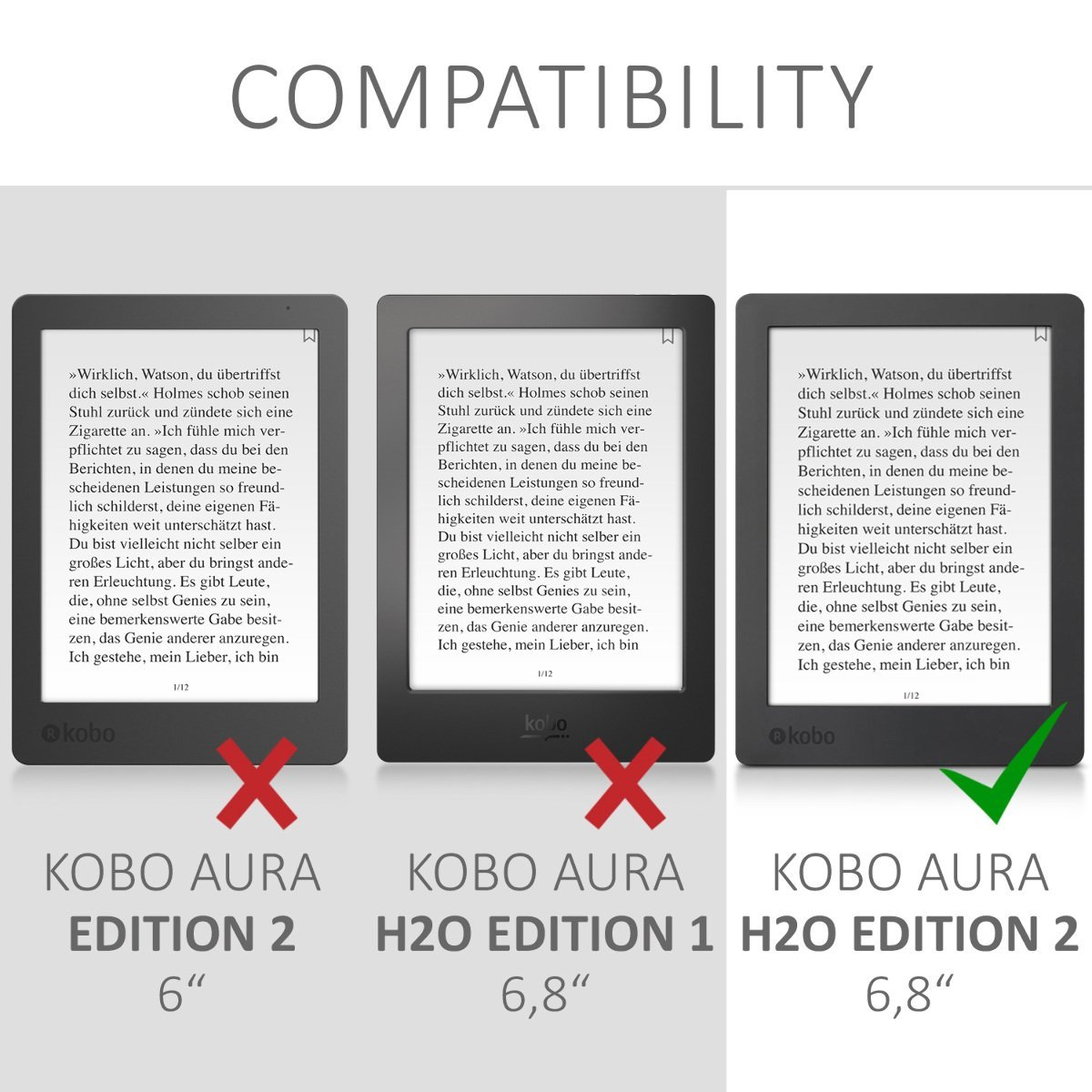 kwmobile Flip cover case for Kobo Aura H2O Edition 2 - imitation leather foldable case in red by kwmobile (Image #7)