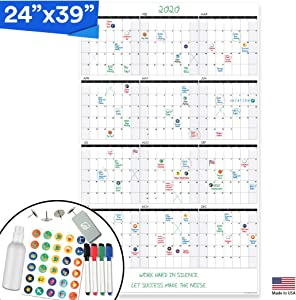 Lushleaf Designs - Large Dry Erase Wall Calendar - 24x39 Inches - Blank Undated 2020-2021 Reusable Year Calendar - Whiteboard Yearly Poster - Laminated Office Jumbo 12 Month Calendar (Vertical)