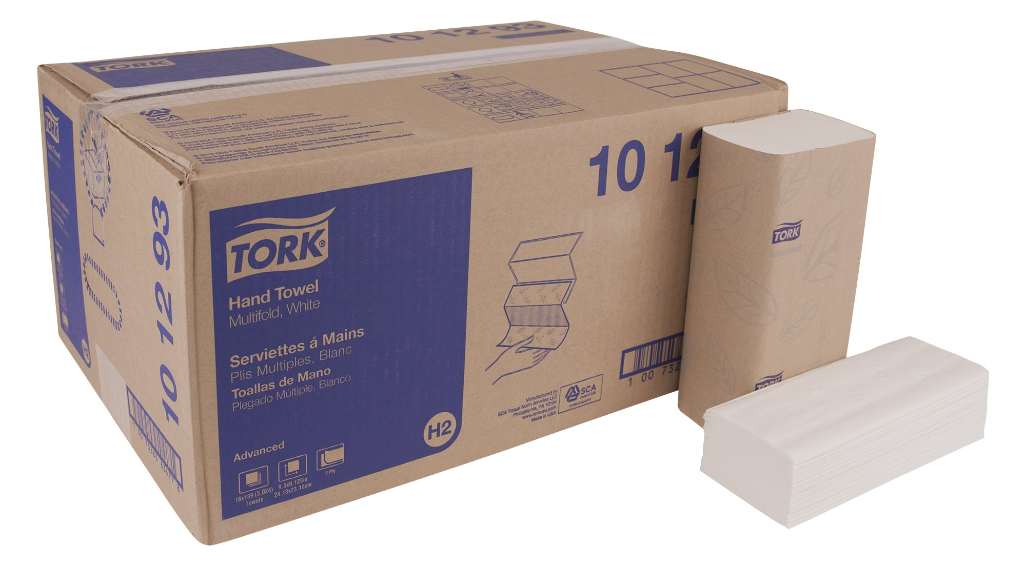 Tork Advanced 101293 Soft Xpress Multifold Paper Hand Towel, 3-Panel, 2-Ply, 9.125'' Width x 9.5'' Length, White (Case of 16 Packs, 189 per Pack, 3024 Towels) by Tork