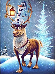 DIY 5D Diamond Painting by Number Kit, Round Full Drill Gem Art Craft for Home Wall Decor Gift (Christmas Reindeer)
