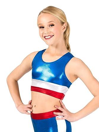 e23cb63b5298e Amazon.com  Girls Gymnastics Patriotic Print Tank Bra Top G687C  Clothing