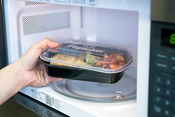 Fitpacker contenedores para la comida preparatoria - Sin BPA (28 onzas) Paquete de 10 Negro: Amazon.es: Hogar