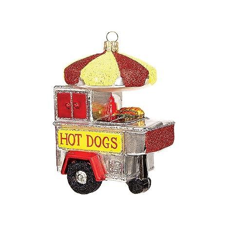 Perrito caliente carrito de cristal soplado a boca cristal Papá Noel pulido