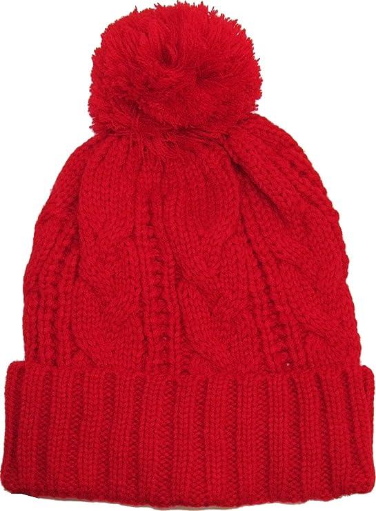 124d8fa278f KBW-510 RED Slouchy Cable Knit Pom Pom Beanie Winter Cap Chunky Skull Hat  Ski Kinit Warm New  Amazon.ca  Sports   Outdoors