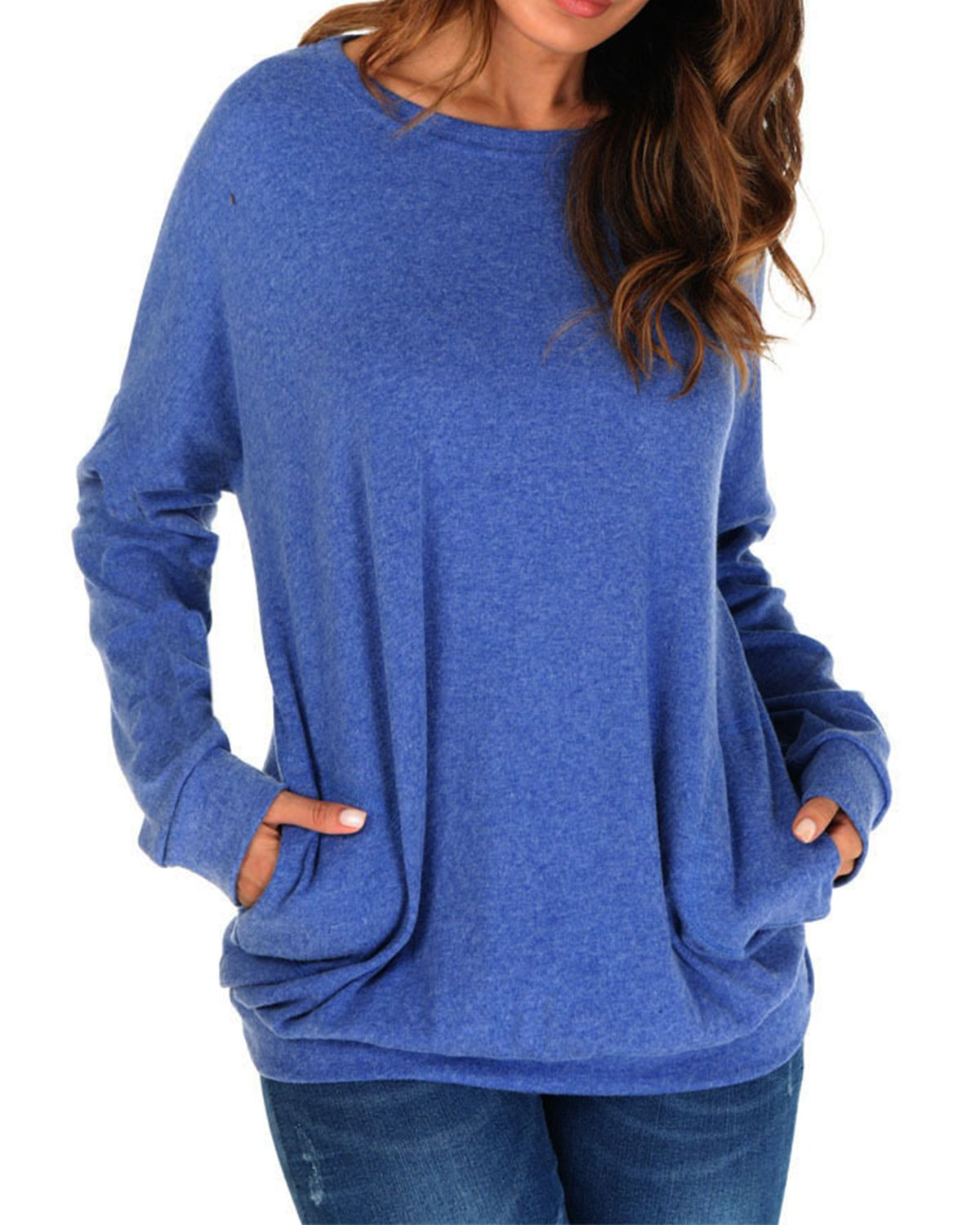 Women's Blouse Long Sleeve Tops Casual Sweater Shirt Loose T Shirt for Home, Travel, Weenkend(Royal Blue,Medium)