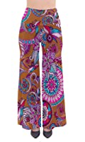 CowCow Womens Floral Paisley Bohemia Butterfly Chic Palazzo Pants