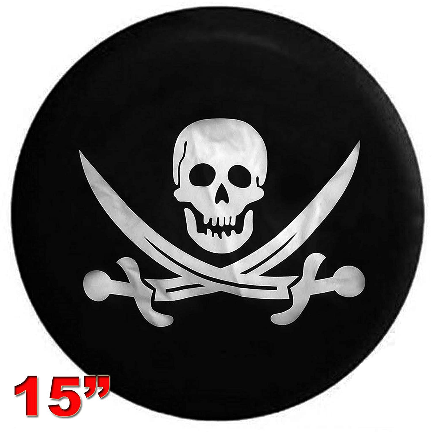 XL 17 INCH Choose from Multiple Designs with Flag /& Crossbones Kenkesh Skull Spare Tire Cover for RV Jeep Wranglers , Skull 2 Rugged Weather Resistant Leather Grain Vinyl Boat Trailer