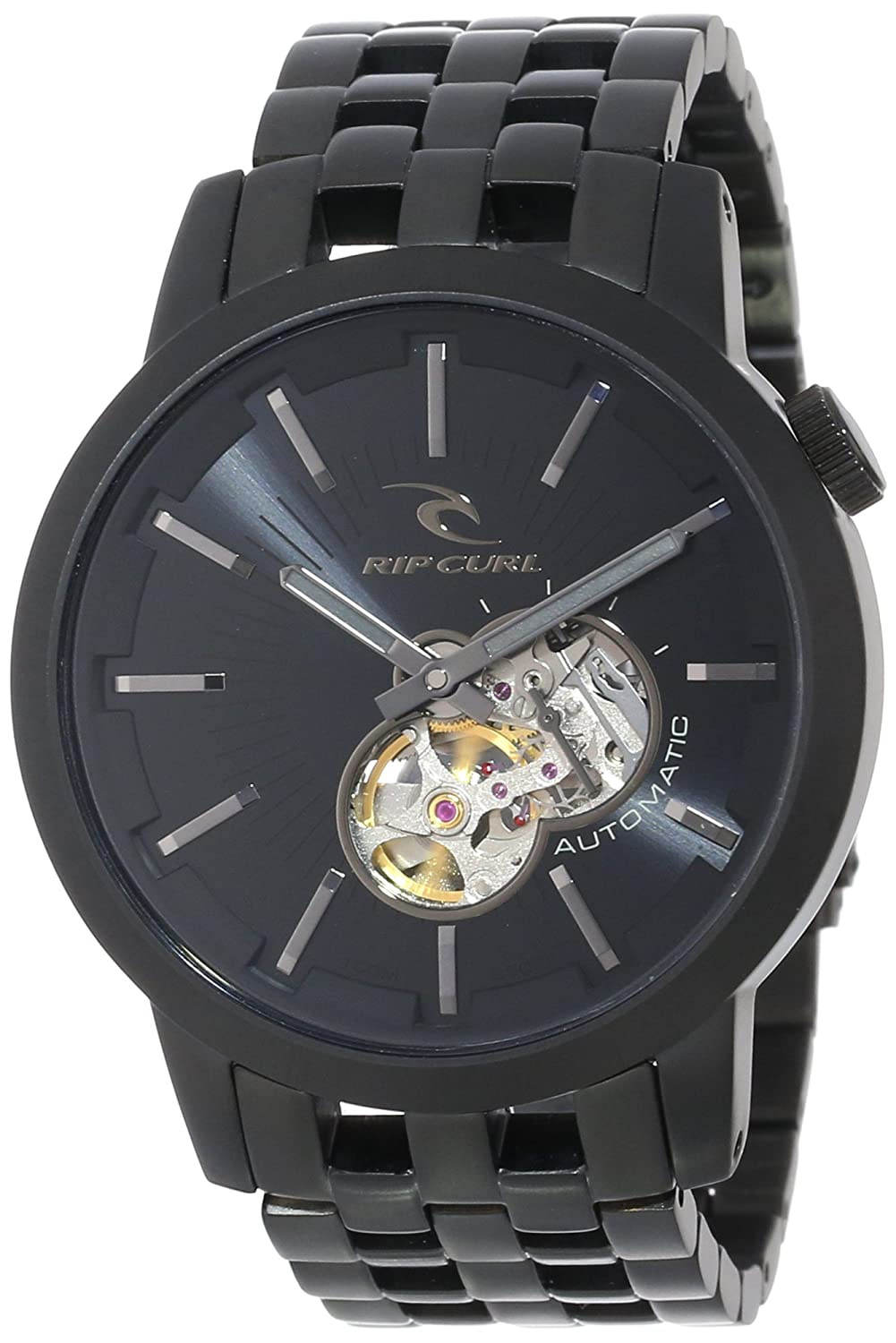 111bd759f3a Amazon.com  Rip Curl Men s A2687 Midsize Detroit Automatic Midnight Black  Surf Dive Watch