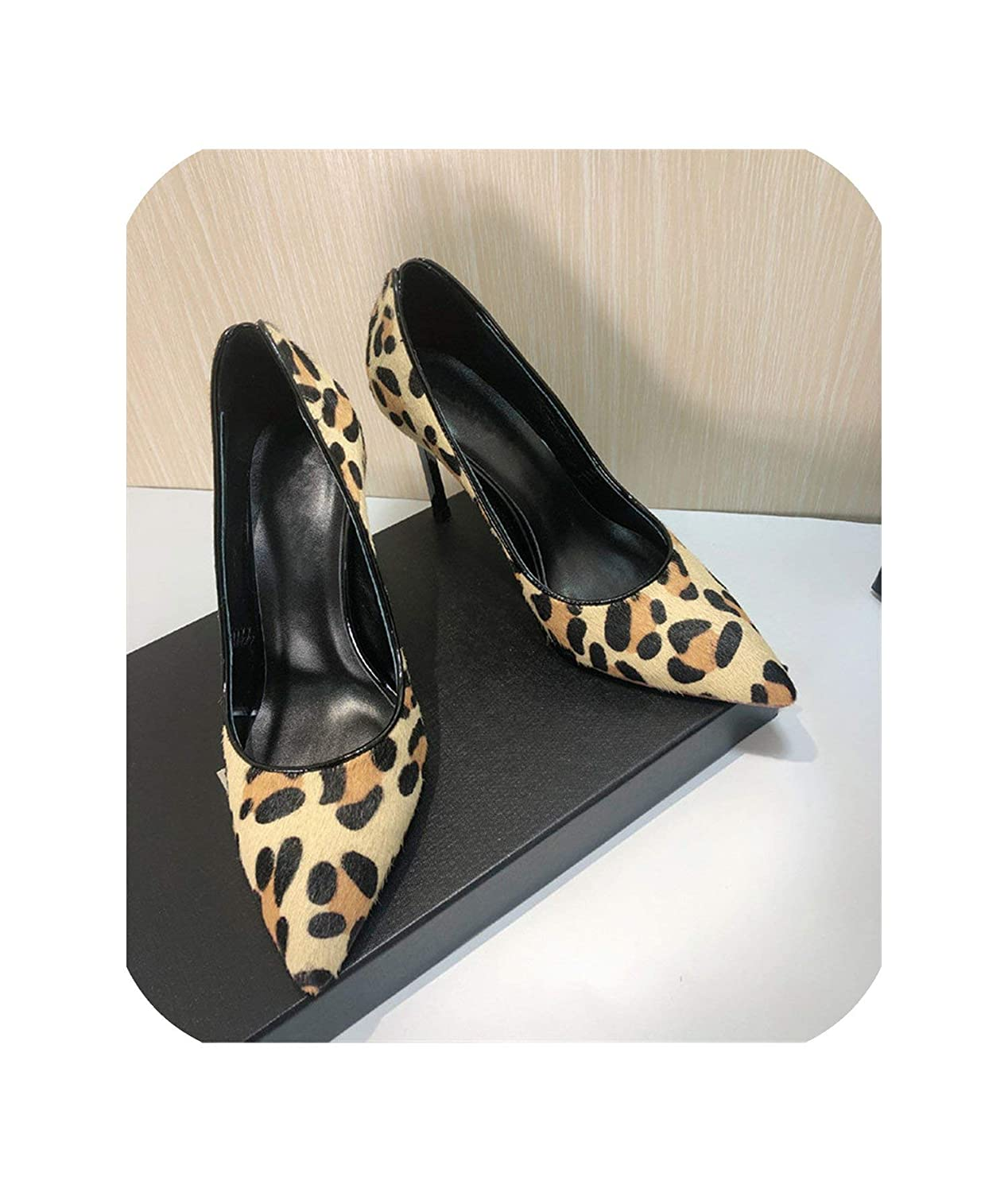 Leopard 8.5cm The Hot Rock-sandals Sexy Leopard High Heel Pumps Women New Spring 10cm Metal Stiletto Heel Pointed Toe Horsehair OL Working shoes Woman