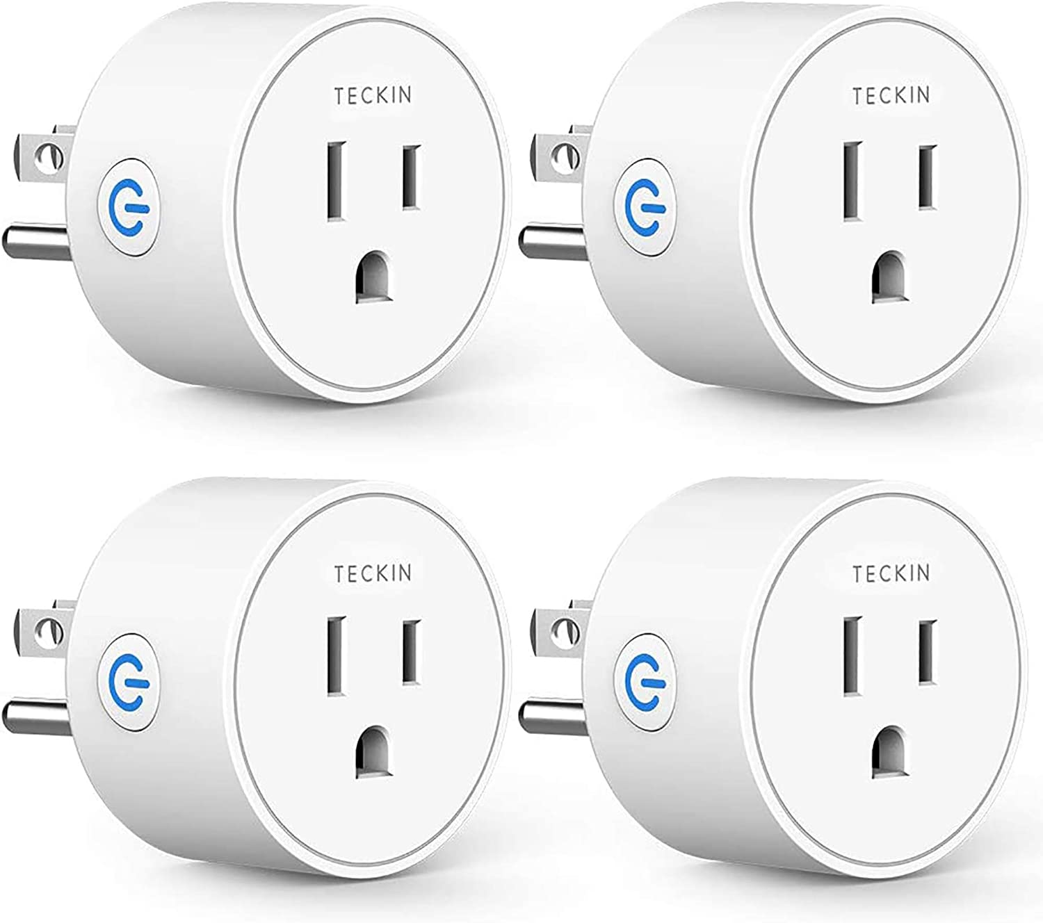 Smart Plug Compatible with Alexa Google Assistant for Voice Control, Teckin Mini Smart Outlet Wifi Socket with Timer Function, No Hub Required, White FCC ETL Certified - -