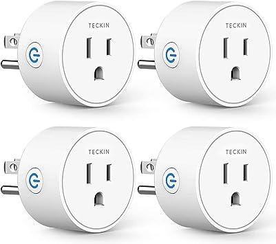 Control Remoto,4 pack Funci/ón de Temporizador LEEBA Enchufe Inteligente WiFi 16A,Mini Smart Plug,Funciona con  Alexa Google Home,Control de voz