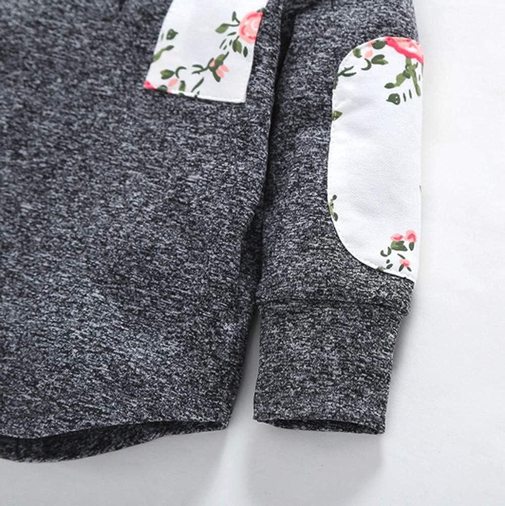 DressLksnf Hoodies for Kids Baby Boys Girls Floral Hoodie Pocket Sweatshirt Pullover Tops Warm Clothes