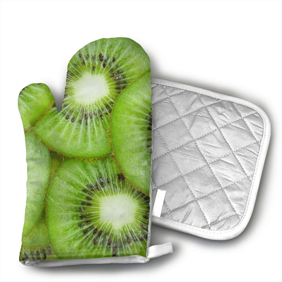 Wiqo9 Green Kiwi Fruit Pattern Adult Oven Mitts and Pot Holders Kitchen Mitten Cooking Gloves,Cooking, Baking, BBQ.