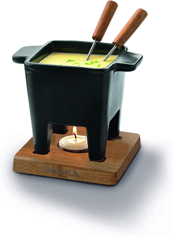 Boska Holland Tealight Fondue Set, For Cheese or Chocolate, Tapas, 200 mL Black, Pro Collection