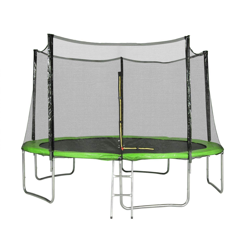 Unbekannt Garten-Trampolin mit Außennetz, Durchmesser 12 m, 366 cm, 5 Sitzstangen – TÜV – Farbe wählbar