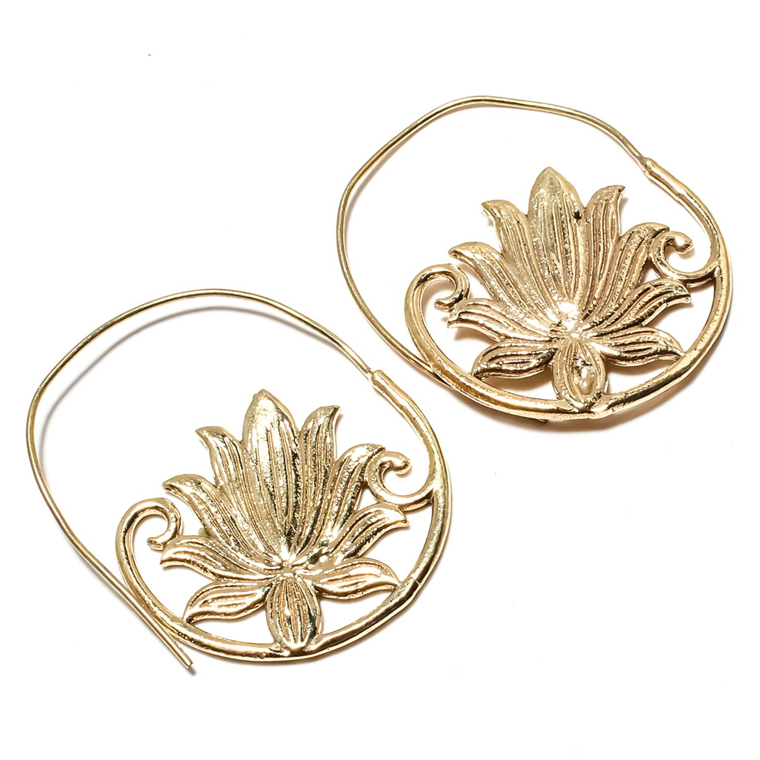 Beautiful Tree Of Life Loop Charms Earring Handmade Gold Plated Brass Jewelry Dangle And Drop Earring SF-2460