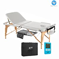 Table de massage 3 zones, en bois, portable, avec filet et minuteur Bianco