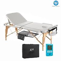 Table de massage 3zones, en bois, portable, avec filet et minuteur Bianco