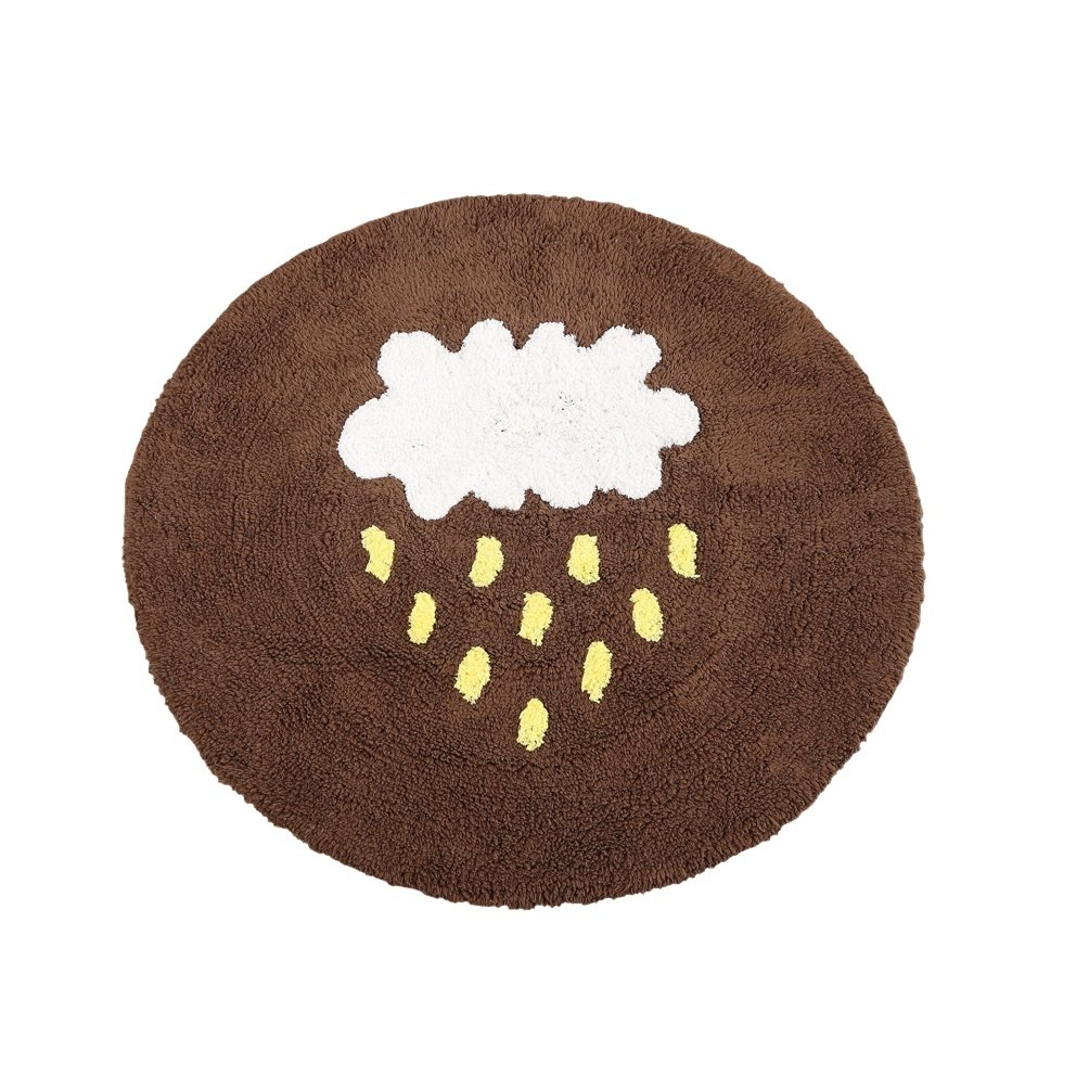 WAN SAN QIAN- Rug Living Room Round Cotton Carpet Floor Mat Children 's Crawling Mat Computer Chair Mat Non - Slip Mat Rug ( Color : Brown , Size : 120x120cm )