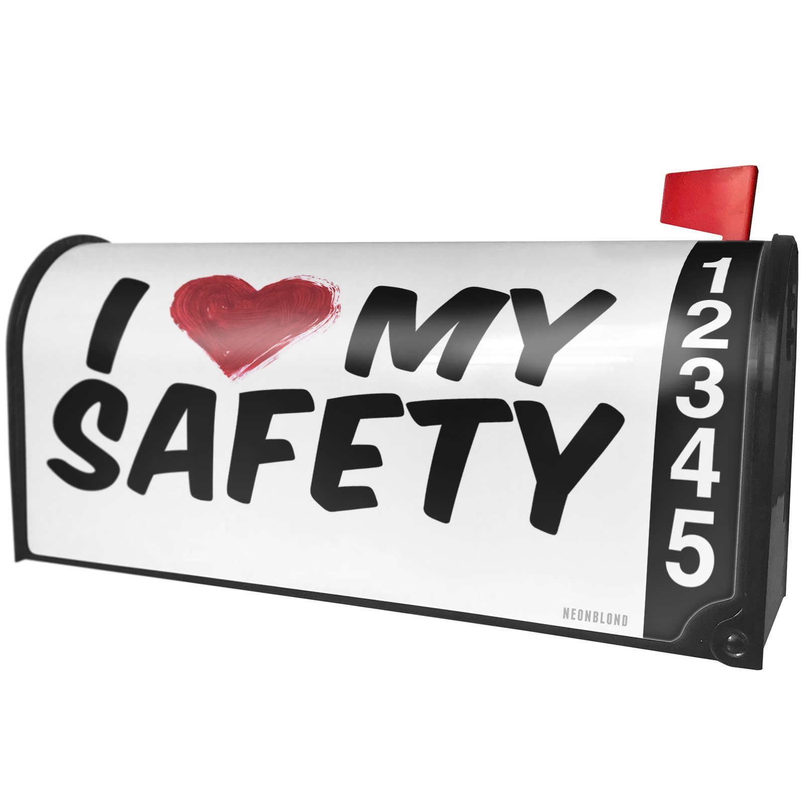 NEONBLOND I Heart Love My Safety Magnetic Mailbox Cover Custom Numbers