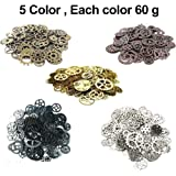 Awtlife 300 Gram Assorted Vintage Antique Steampunk Gears Charms Reloj Rueda dentada Sets 5 Color